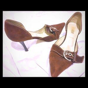 Prada vintage brown suede heels with buckle